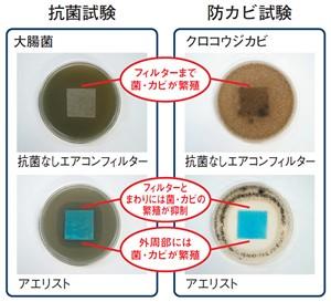 抗菌試験の写真と防カビ試験の写真